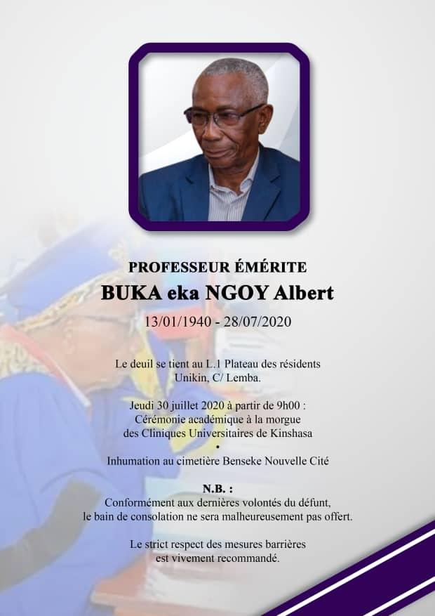 ESU : l'Unikin en deuil le professeur émérite BUKA EKA NGOY ALBERT n'est plus
