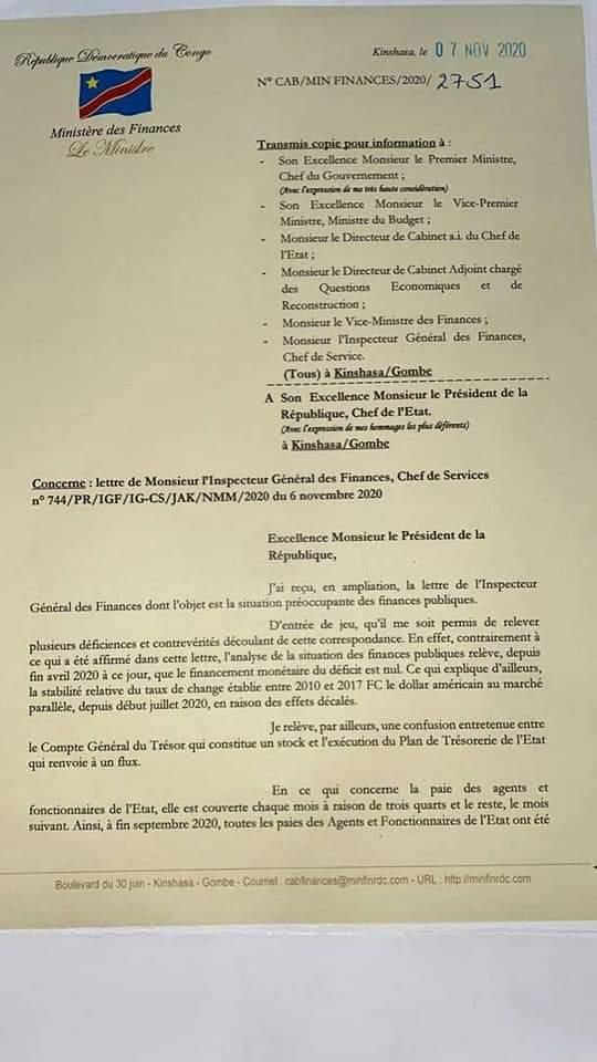 La Geurre déclaré entre le ministre des finances et le patron de l'IGF, Jules Alingete