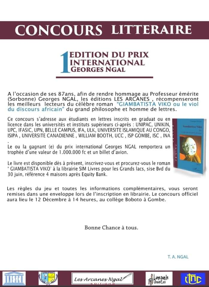 Culture : Concours littéraire 1.000.000 FC à gagner et un billet d'avion