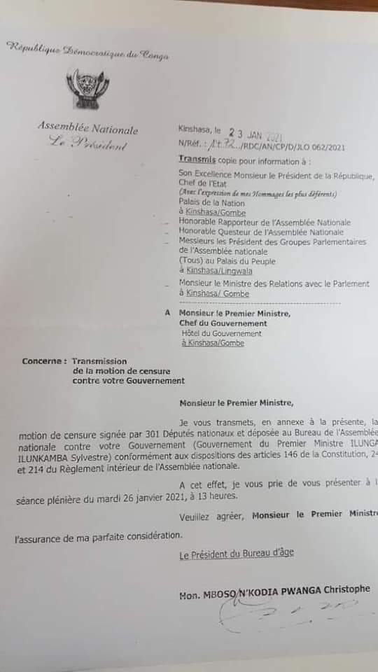 RDC – POLITIQUE : GUERRE DES TEXTES ENTRE PARLEMENT ET PRIMATURE